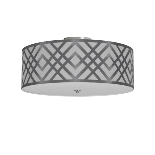 Dainolite Lighting  MON-184FH-PC-SV 4 Light Flushmount, Polished Chrome Finish, Silver Shade