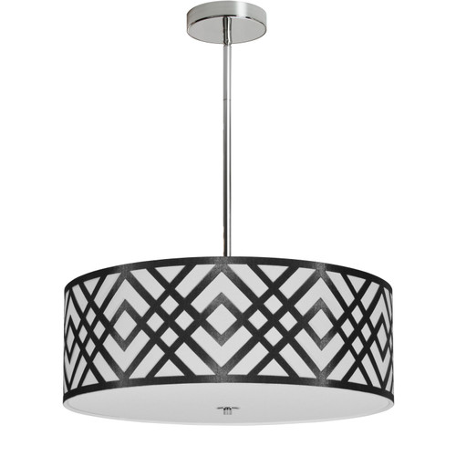 Dainolite Lighting  MON-194P-PC-BW 4 Light Pendant, Polished Chrome Finish, Black/White Shade