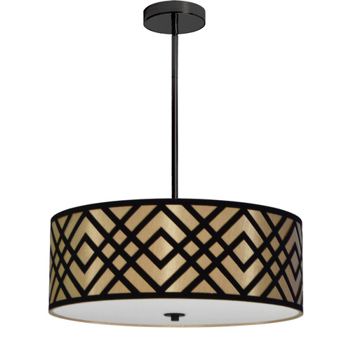 Dainolite Lighting  MON-194P-PC-GBK 4 Light Pendant, Polished Chrome Finish, Black/Gold Shade