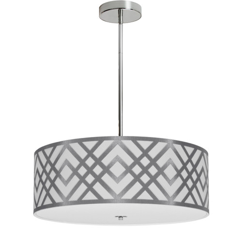 Dainolite Lighting  MON-194P-PC-SV 4 Light Pendant, Polished Chrome Finish, White & Silver Shade