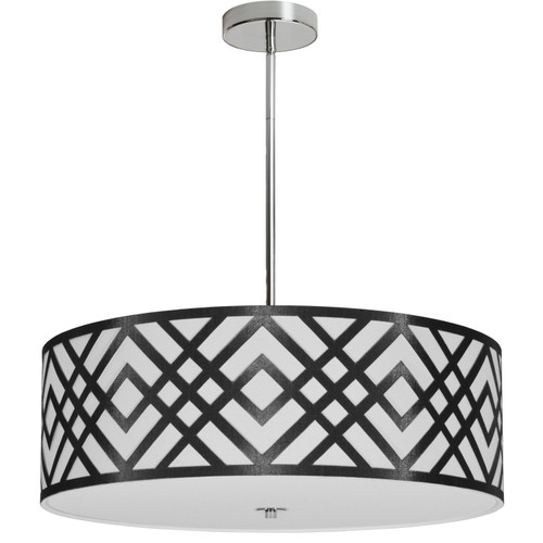 Dainolite Lighting  MON-244P-PC-BW 4 Light Pendant, Polished Chrome Finish, Black/White Shade