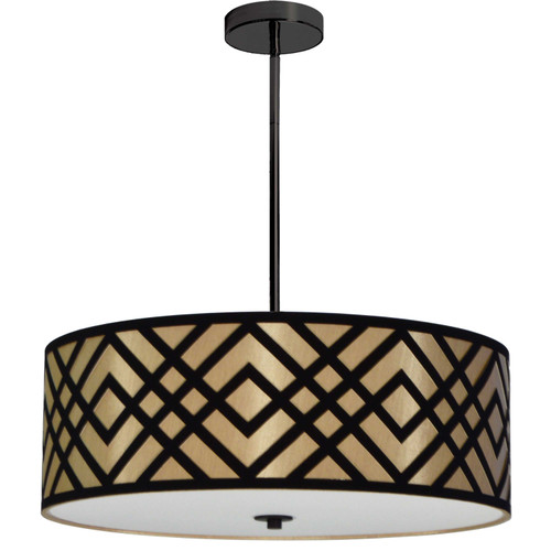 Dainolite Lighting  MON-244P-PC-GBK 4 Light Pendant, Polished Chrome Finish, Black/Gold Shade