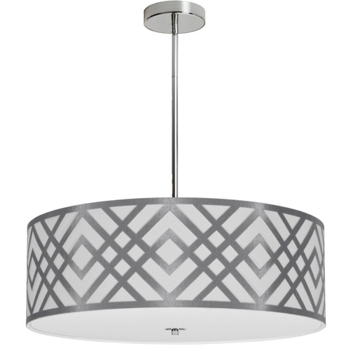 Dainolite Lighting  MON-244P-PC-SV 4 Light Pendant, Polished Chrome Finish, Silver Shade