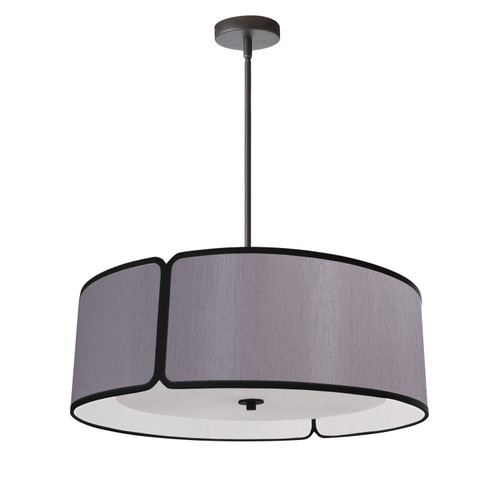 Dainolite Lighting  NDR-243P-BK-GRY 3LT Notched Drum Pendant Bk, Grey Shade & Diffuser