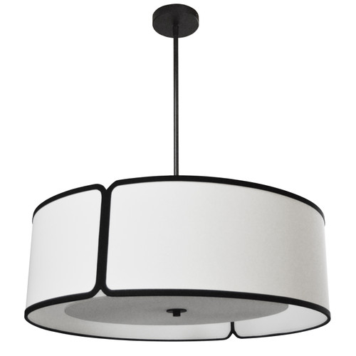 Dainolite Lighting  NDR-243P-BK-WH 1 Light Trapezoid Pendant Black White Shade with 790 Diffuser