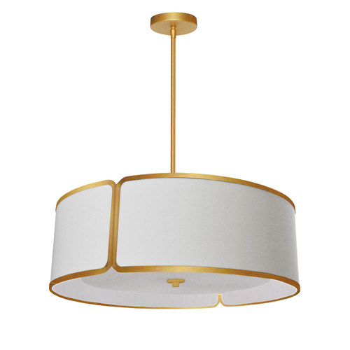 Dainolite Lighting  NDR-243P-GLD-WH 3LT Notched Drum Pendant Gld, Wh Shade & Diffuser