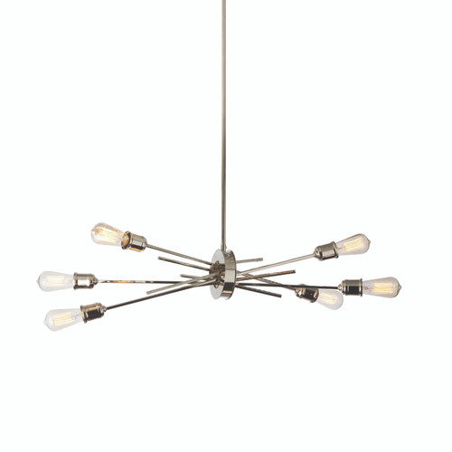 Dainolite Lighting  NEB-326HP-BC 6 Light Horizontal Pendant, Burnished Chrome Finish