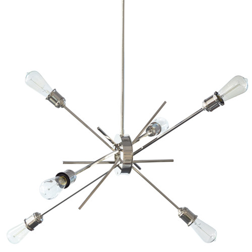"Dainolite Lighting  NEB-336P-BC 6 Light Pendant, Burnished Chrome Finish, 28"" Diameter"