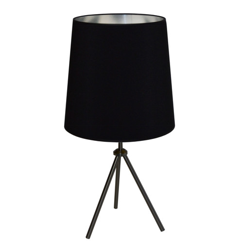 Dainolite Lighting  OD3T-L-697-MB 1LT 3 Leg Drum Table Fixture w/BK-SV Shd