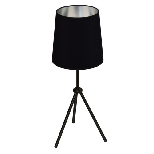 Dainolite Lighting  OD3T-S-697-MB 1LT 3 Leg Drum Table Fixture w/BK-SV Shd