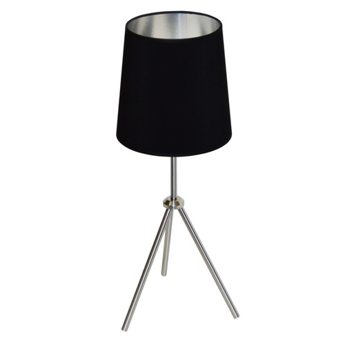 Dainolite Lighting  OD3T-S-697-SC 1LT 3 Leg Drum Table Fixture w/BK-SV Shd