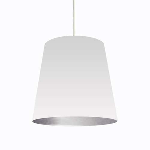 Dainolite Lighting  OD-L-691 1 Light Tapered Drum Pendant with White on Silver Shade