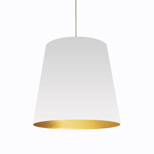 Dainolite Lighting  OD-L-692 1 Light Tapered Drum Pendant with White on Gold Shade