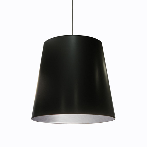 Dainolite Lighting  OD-L-697 1 Light Tapered Drum Pendant with Black  on Silver Shade