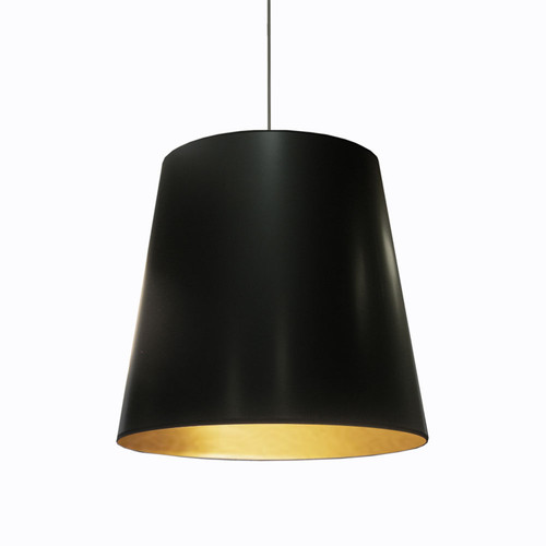 Dainolite Lighting  OD-L-698 1 Light Tapered Drum Pendant with Black  on Gold Shade