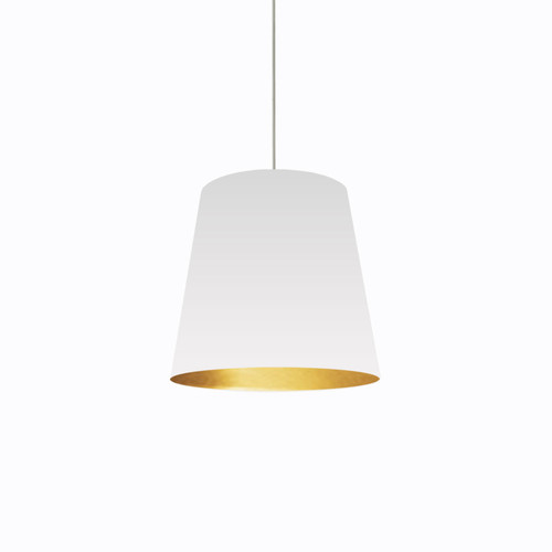Dainolite Lighting  OD-M-692 1 Light Tapered Drum Pendant with White on Gold Shade
