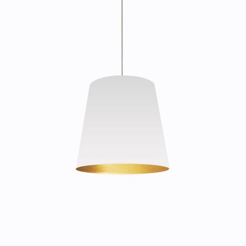 Dainolite Lighting  OD-M-692 1 Light Tapered Drum Pendant with White on Gold Shade