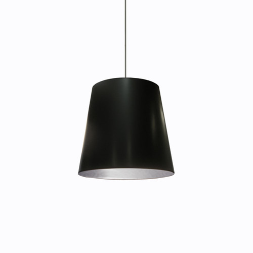 Dainolite Lighting  OD-M-697 1 Light Tapered Drum Pendant with Black  on Silver Shade
