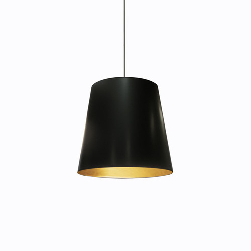 Dainolite Lighting  OD-M-698 1 Light Tapered Drum Pendant with Black  on Gold Shade