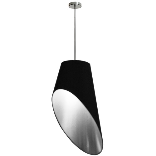 Dainolite Lighting  ODS-1P-697 1 Light Slanted Tapered Drum Pendant, Blk/Slv Shade