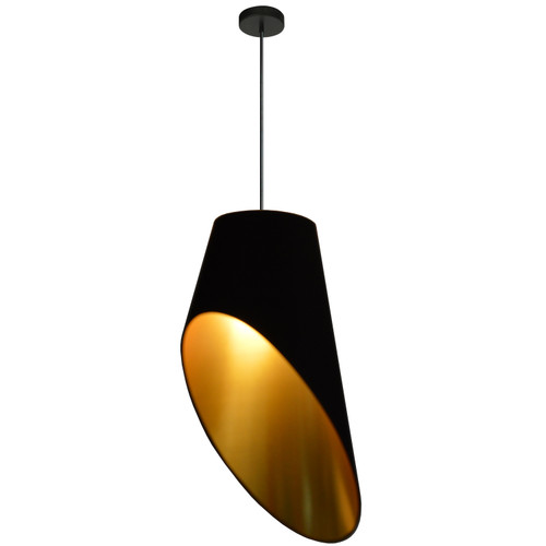 Dainolite Lighting  ODS-1P-698 1 Light Slanted Tapered Drum Pendant, Blk/GldShade