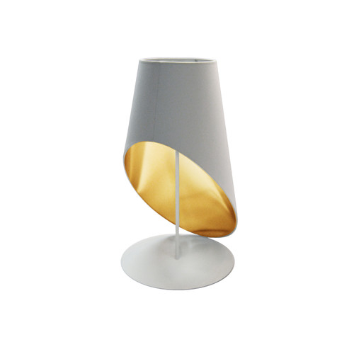 Dainolite Lighting  ODS-1T-692 1 Light Slanted Tapered Drum Table, Wht/Gld Shade
