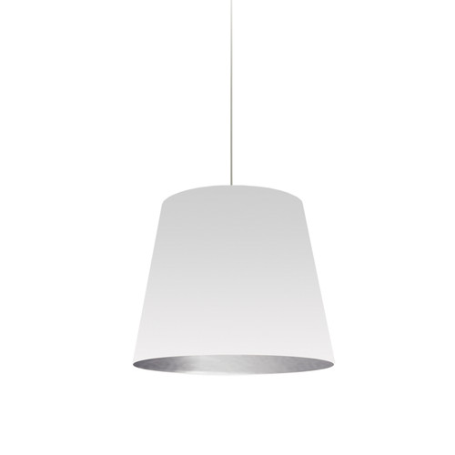 Dainolite Lighting  OD-S-691 1 Light Tapered Drum Pendant with White on Silver Shade