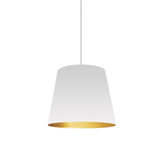 Dainolite Lighting  OD-S-692 1 Light Tapered Drum Pendant with White on Gold Shade
