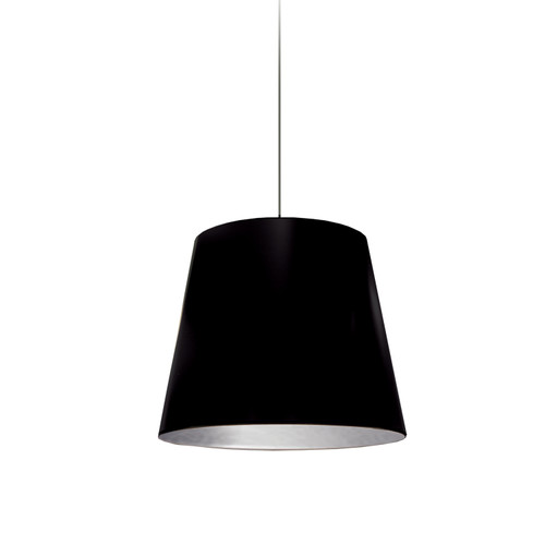 Dainolite Lighting  OD-S-697 1 Light Tapered Drum Pendant with Black  on Silver Shade