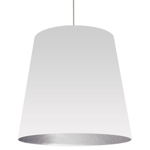 Dainolite Lighting  OD-XL-691 1 Light Tapered Drum Pendant with White on Silver Shade