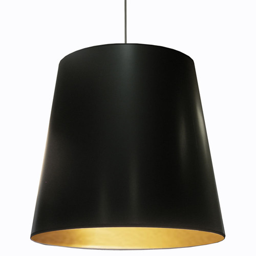 Dainolite Lighting  OD-XL-698 1 Light Tapered Drum Pendant with Black on Gold Shade