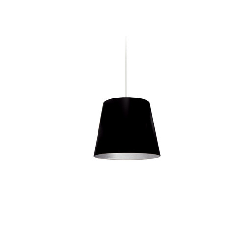 Dainolite Lighting  OD-XS-697 1 Light Tapered Drum Pendant with Silver on Black Shade