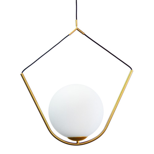 Dainolite Lighting  ORN-241P-AGB 1 Light Incandescent Pendant Aged Brass Finish with White Glass