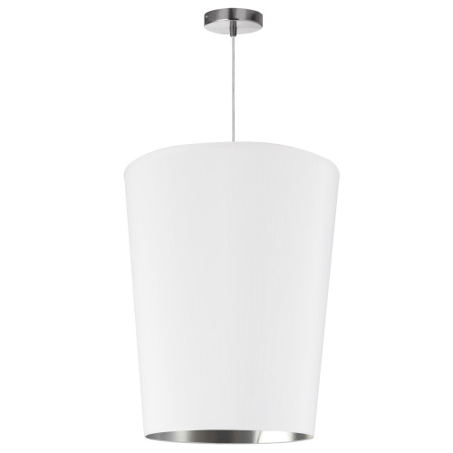 Dainolite Lighting  PAI-M-691 1 Light Paisley Pendant White on Silver, Medium Polished Chrome