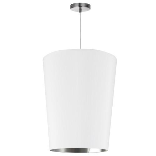 Dainolite Lighting  PAI-M-691 1 Light Paisley Pendant White on Silver, Medium Polished Chrome