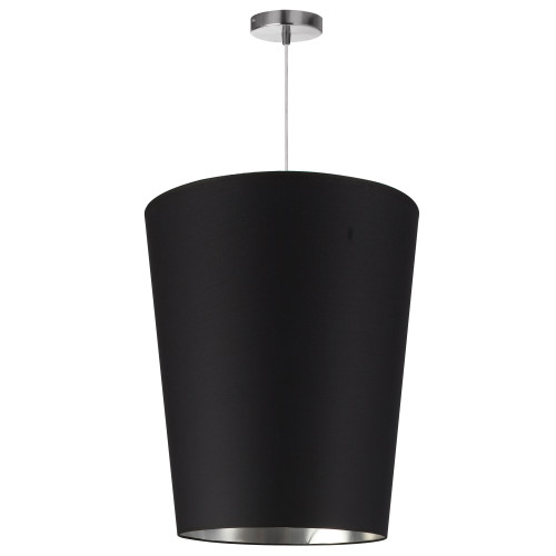 Dainolite Lighting  PAI-M-697 1 Light Paisley Pendant Black on Silver, Medium Polished Chrome