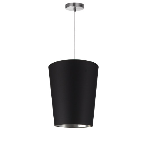 Dainolite Lighting  PAI-S-697 1 Light Paisley Pendant Black on Silver, Small Polished Chrome