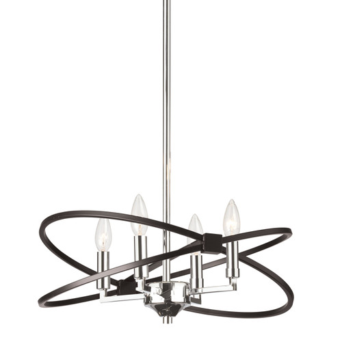 Dainolite Lighting  PAL-184C-PC-MB 4 Light Incandescent Chandelier, Polished Chrome and Matte Black Finish