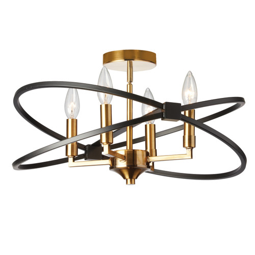 Dainolite Lighting  PAL-184SF-VB-MB 4 Light Incandescent Semi Flush, Vintage Bronze and Matte Black Finish