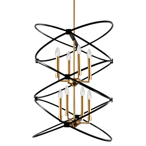 Dainolite Lighting  PAL-228C-VB-MB 8 Light Incandescant Chandelier, Vintage Bronze and Matte Black Finish