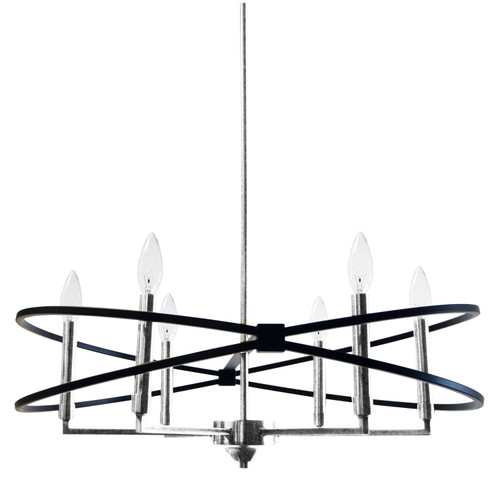 Dainolite Lighting  PAL-276C-PC-MB 6 Light Incandescent Chandelier, Polished Chrome and Matte Black Finish