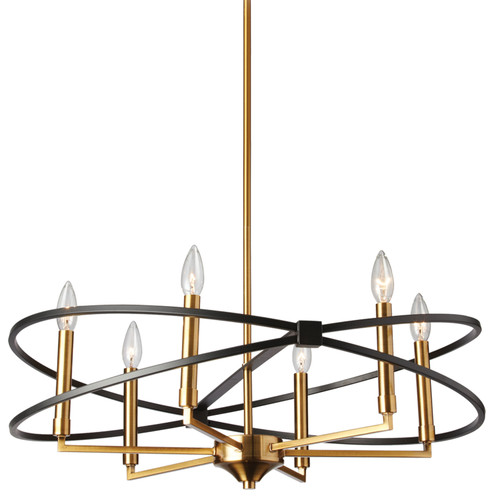 Dainolite Lighting  PAL-276C-VB-MB 6 Light Chandelier, Vintage Bronze and Matte Black Finish