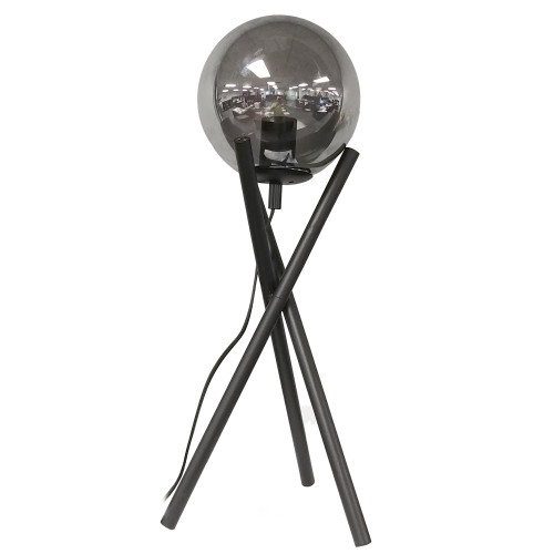 Dainolite Lighting  PAM-241T-MB 1 Light Incandescent Table Lamp, Matte Black with Smoked Glass