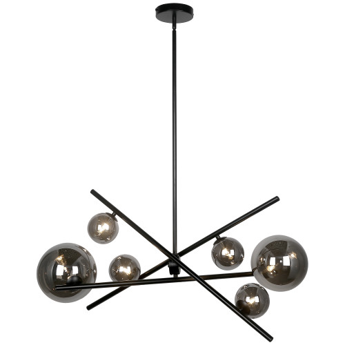 Dainolite Lighting  PAM-276HP-MB 6 Light Halogen Horizontal Pendant, Matte Black with Smoked Glass