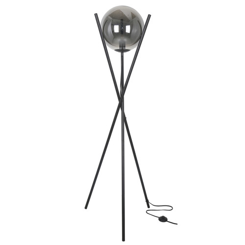 Dainolite Lighting  PAM-601F-MB 1 Light Incandescent Floor Lamp Matte Black Finish with Smoked Glass