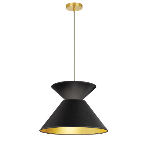 Dainolite Lighting  PAT-181P-AGB-698 1 Light Patricia Pendant, Aged Brass with Black/Gold Shade