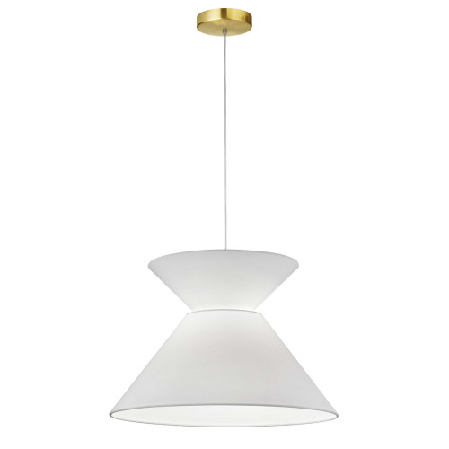 Dainolite Lighting  PAT-181P-AGB-790 1 Light Patricia Pendant, Aged Brass with White Shade