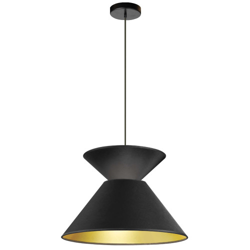 Dainolite Lighting  PAT-181P-BK-698 1 Light Patricia Pendant, Matte Black with Black/Gold Shade