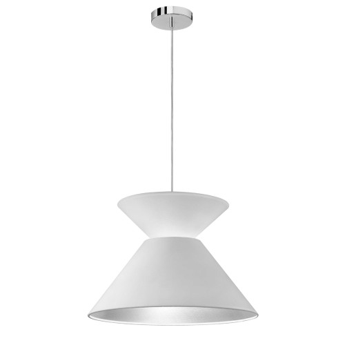 Dainolite Lighting  PAT-181P-PC-691 1 Light Patricia Pendant, Polished Chrome with White/Silver Shade