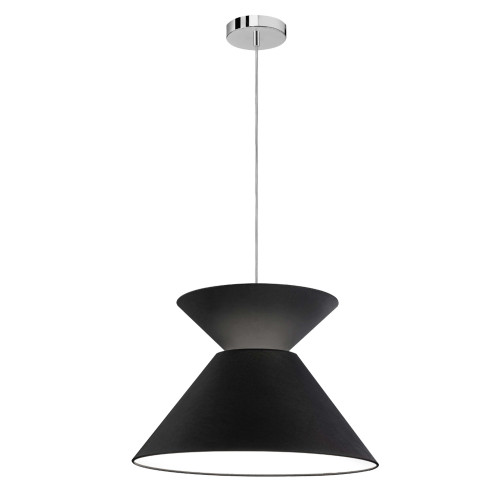 Dainolite Lighting  PAT-181P-PC-797 1 Light Patricia Pendant, Polished Chrome with Black Shade